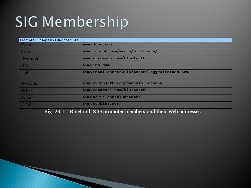 Fig. 23.1Bluetooth SIG promoter members and their Web addresses.