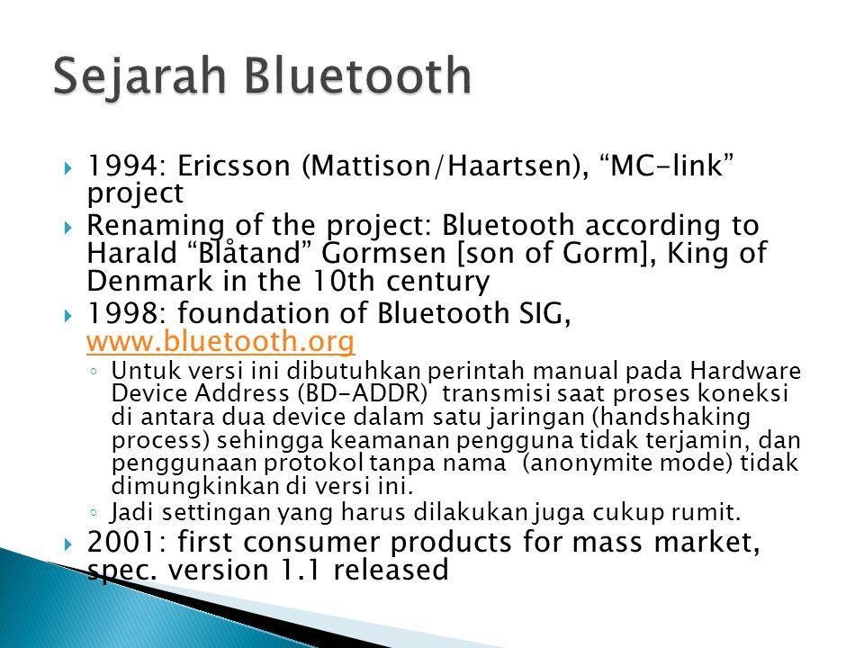  Pada bulan Oktober di tahun 2001, Bluetooth telah diperbarui dan dirilis versi 1.1 dan 1.2.