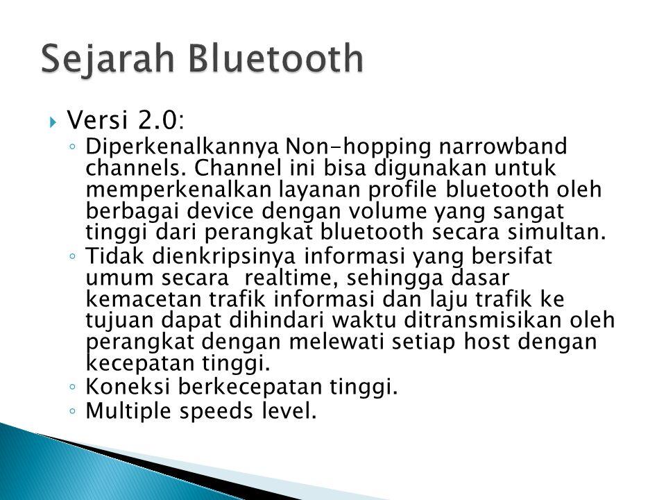  Versi 2.0: ◦ Diperkenalkannya Non-hopping narrowband channels.
