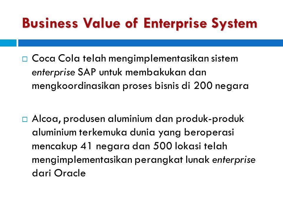 Business Value of Enterprise System  Coca Cola telah mengimplementasikan sistem enterprise SAP untuk membakukan dan mengkoordinasikan proses bisnis d
