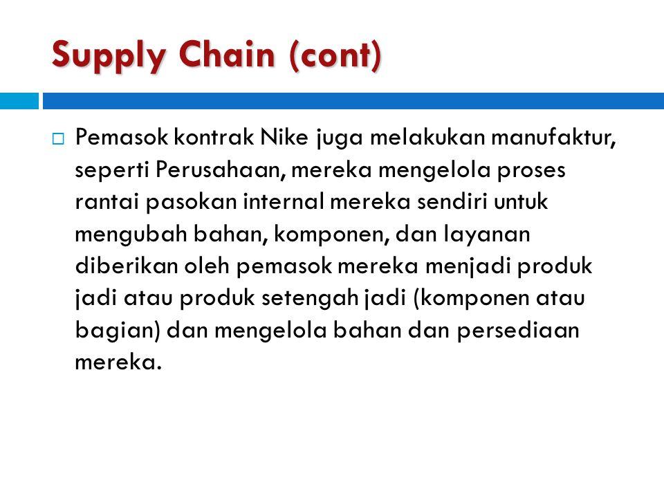 Supply Chain (cont)  Pemasok kontrak Nike juga melakukan manufaktur, seperti Perusahaan, mereka mengelola proses rantai pasokan internal mereka sendi