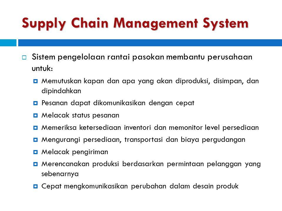 Supply Chain Management System  Sistem pengelolaan rantai pasokan membantu perusahaan untuk:  Memutuskan kapan dan apa yang akan diproduksi, disimpa
