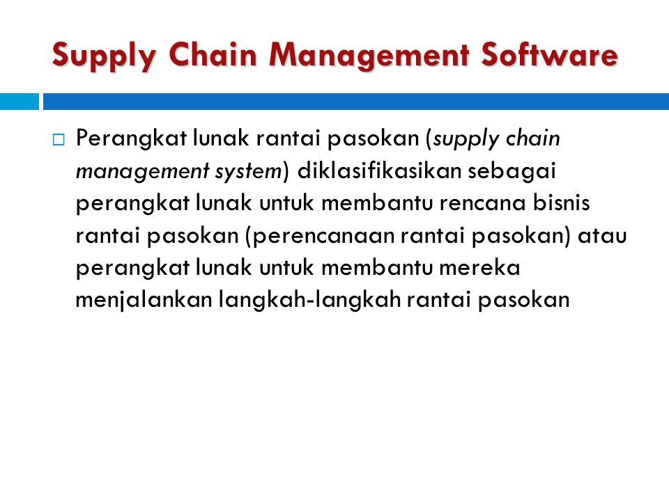 Supply Chain Management Software  Perangkat lunak rantai pasokan (supply chain management system) diklasifikasikan sebagai perangkat lunak untuk memb