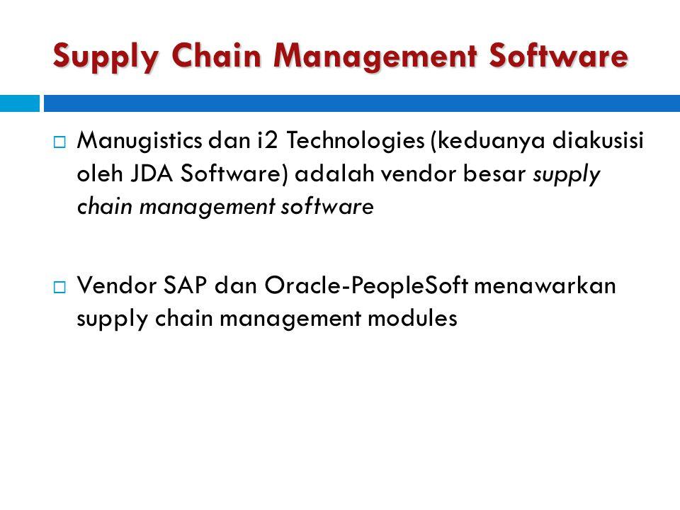 Supply Chain Management Software  Manugistics dan i2 Technologies (keduanya diakusisi oleh JDA Software) adalah vendor besar supply chain management