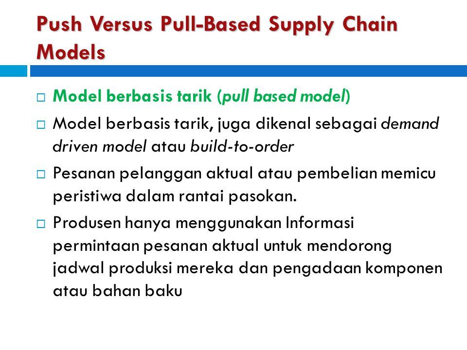 Push Versus Pull-Based Supply Chain Models  Model berbasis tarik (pull based model)  Model berbasis tarik, juga dikenal sebagai demand driven model
