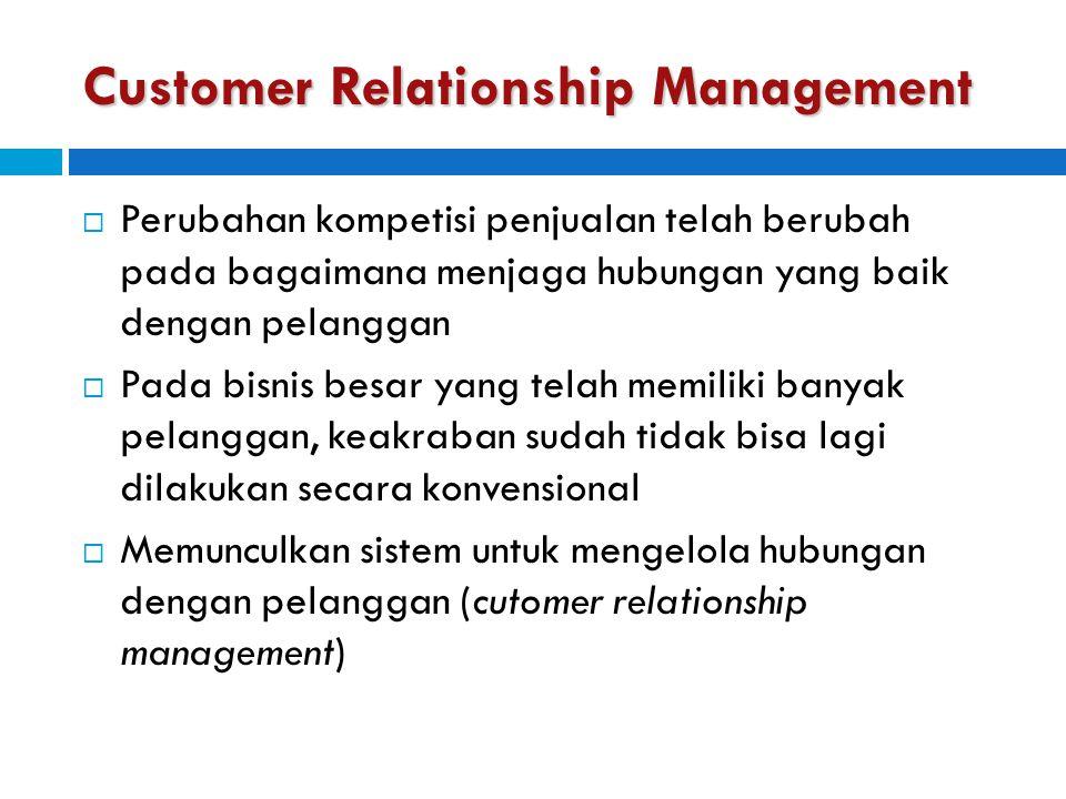 Customer Relationship Management  Perubahan kompetisi penjualan telah berubah pada bagaimana menjaga hubungan yang baik dengan pelanggan  Pada bisni