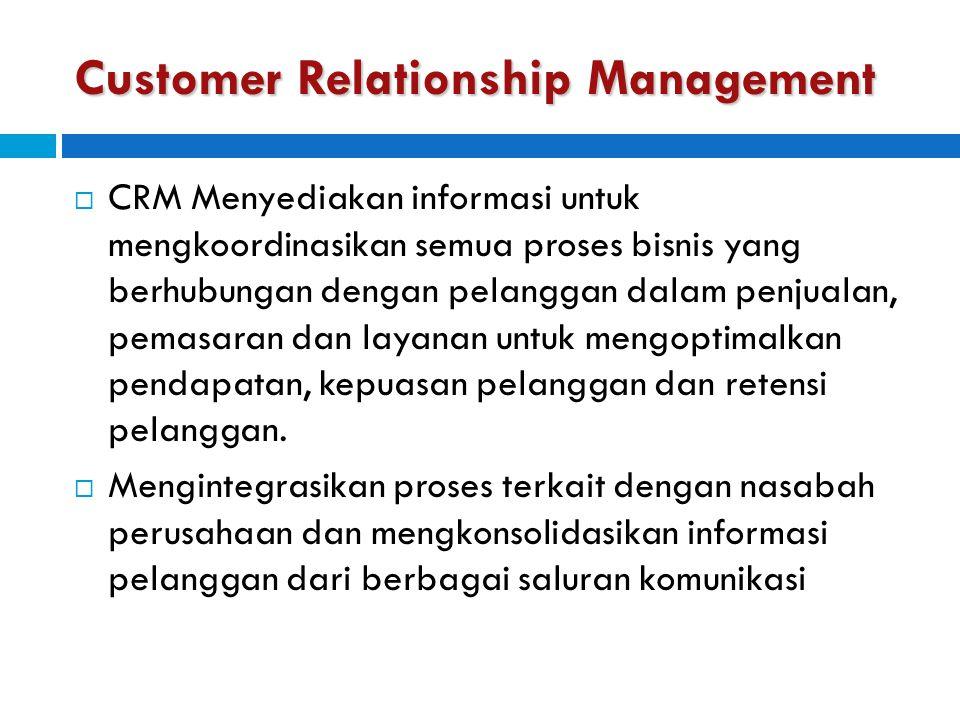 Customer Relationship Management  CRM Menyediakan informasi untuk mengkoordinasikan semua proses bisnis yang berhubungan dengan pelanggan dalam penju