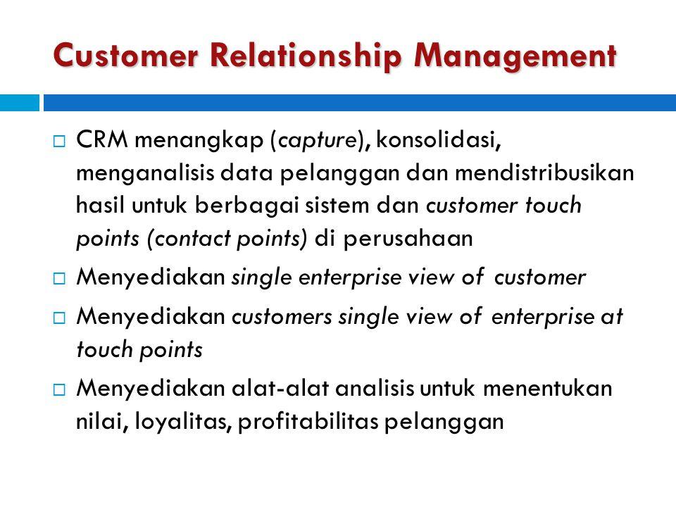 Customer Relationship Management  CRM menangkap (capture), konsolidasi, menganalisis data pelanggan dan mendistribusikan hasil untuk berbagai sistem