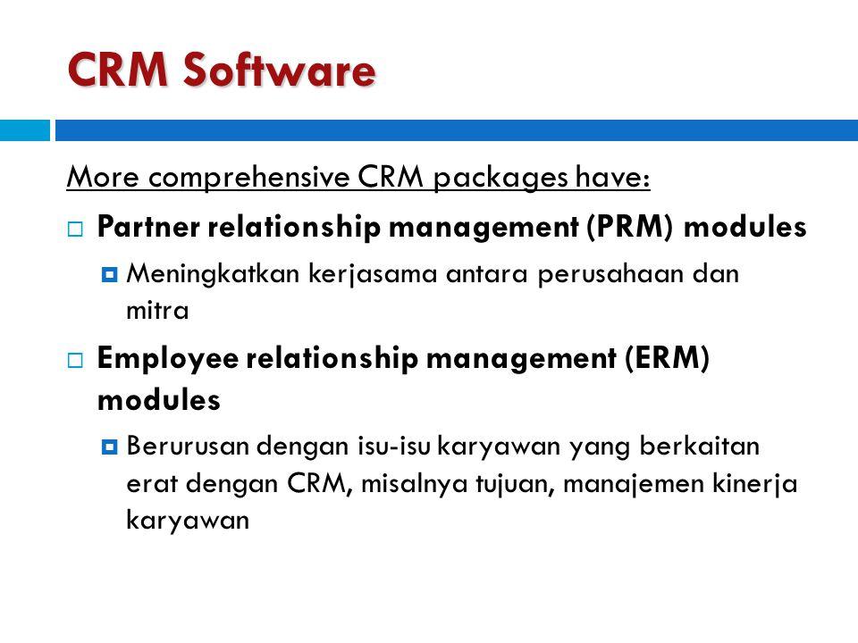 CRM Software More comprehensive CRM packages have:  Partner relationship management (PRM) modules  Meningkatkan kerjasama antara perusahaan dan mitr