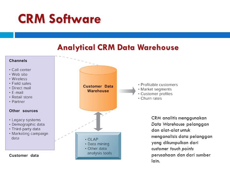 CRM Software Analytical CRM Data Warehouse CRM analitis menggunakan Data Warehouse pelanggan dan alat-alat untuk menganalisis data pelanggan yang diku
