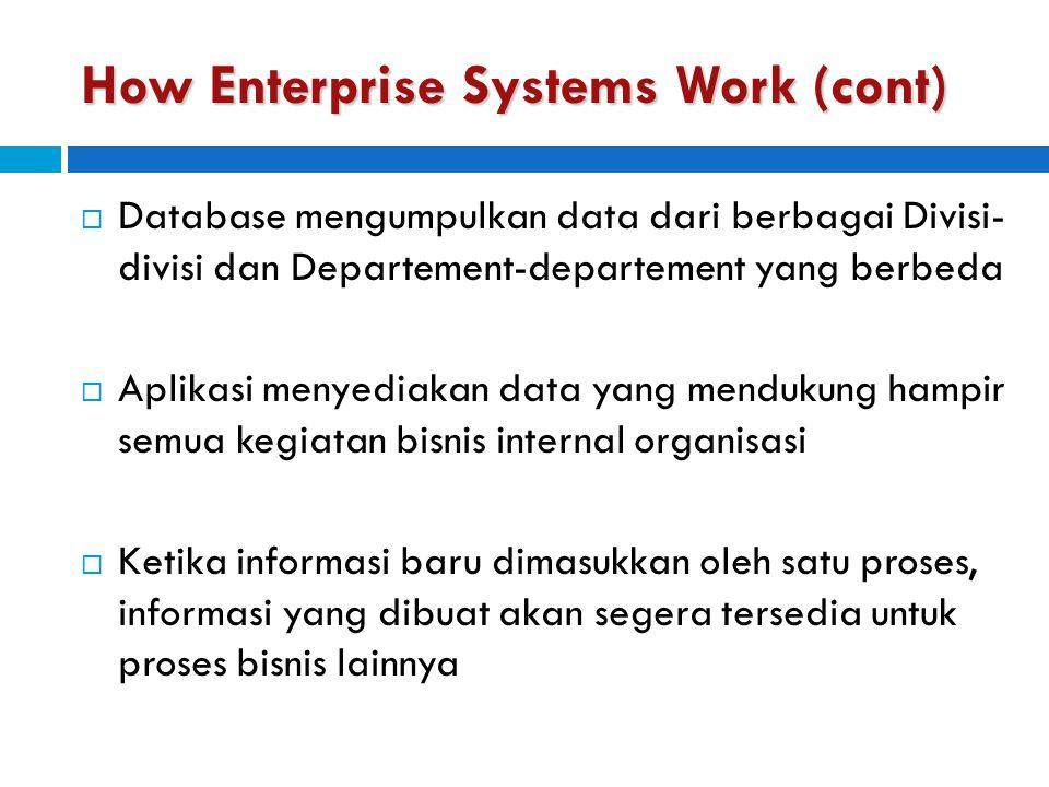 How Enterprise Systems Work (cont)  Database mengumpulkan data dari berbagai Divisi- divisi dan Departement-departement yang berbeda  Aplikasi menye