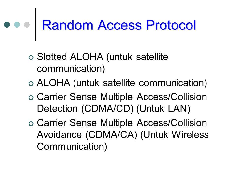 Random Access Protocol Slotted ALOHA (untuk satellite communication) ALOHA (untuk satellite communication) Carrier Sense Multiple Access/Collision Detection (CDMA/CD) (Untuk LAN) Carrier Sense Multiple Access/Collision Avoidance (CDMA/CA) (Untuk Wireless Communication)