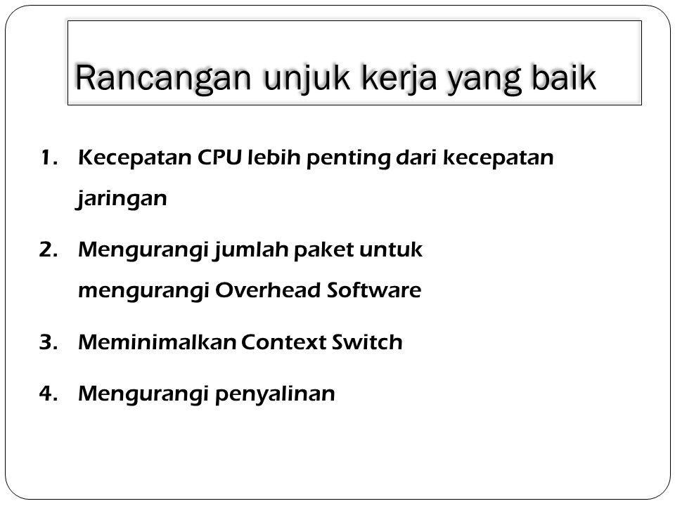 Rancangan unjuk kerja yang baik 1.Kecepatan CPU lebih penting dari kecepatan jaringan 2.Mengurangi jumlah paket untuk mengurangi Overhead Software 3.M