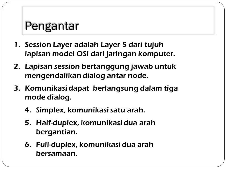 Pengantar 1.Session Layer adalah Layer 5 dari tujuh lapisan model OSI dari jaringan komputer. 2.Lapisan session bertanggung jawab untuk mengendalikan