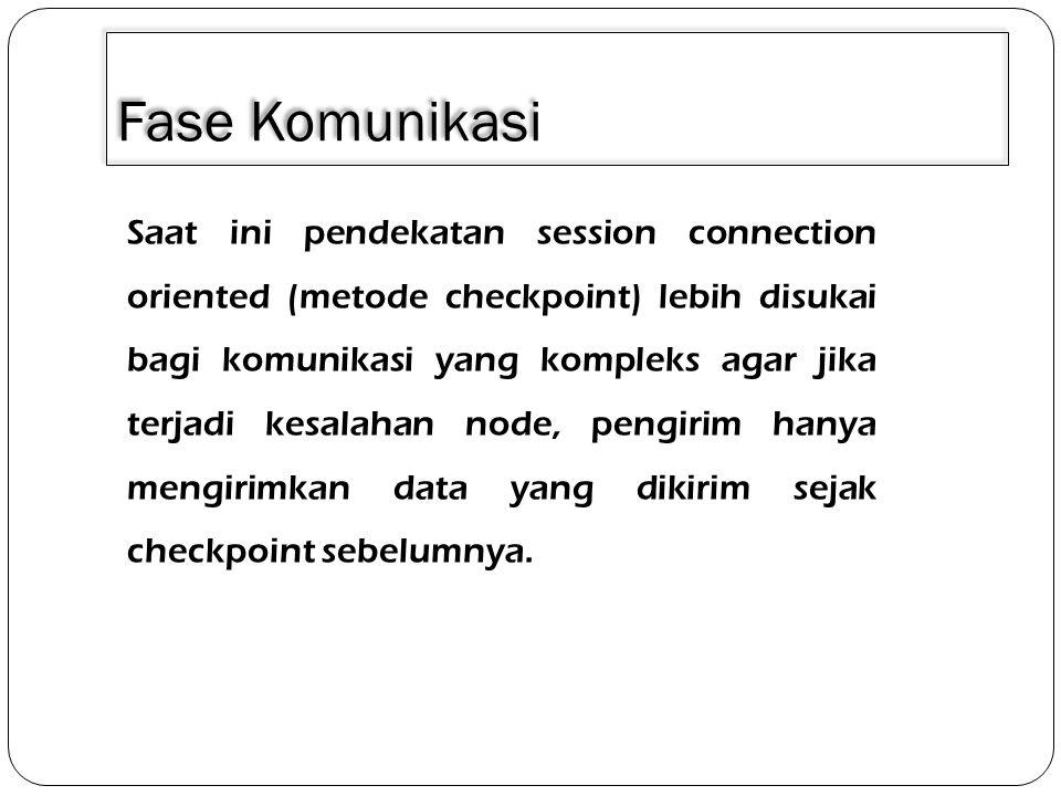Fase Komunikasi Pada lapisan ini menerapkan suatu mekanisme kontrol dialog antara dua aplikasi.