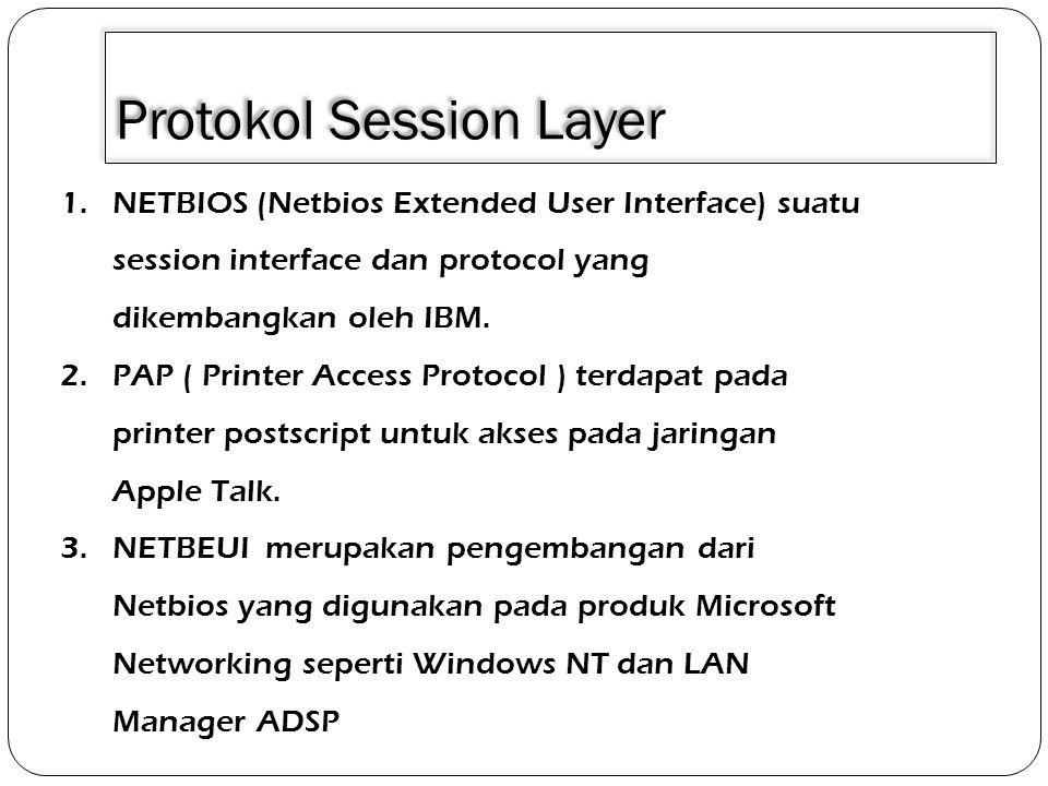 Layanan Session Layer 1.Pembentukan dan pemutusan hubungan antara dua entitas presentasi.