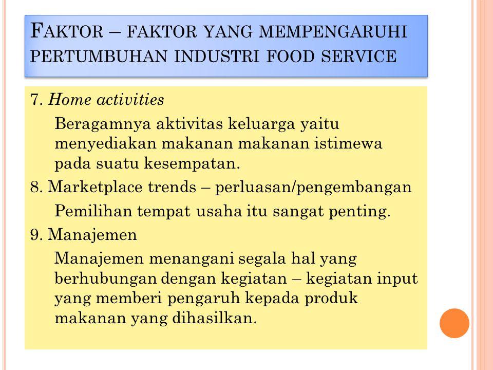 7. Home activities Beragamnya aktivitas keluarga yaitu menyediakan makanan makanan istimewa pada suatu kesempatan. 8. Marketplace trends – perluasan/p