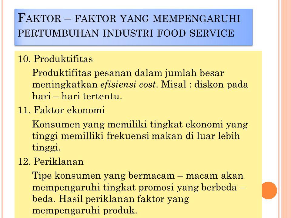 F AKTOR – FAKTOR YANG MEMPENGARUHI PERTUMBUHAN INDUSTRI FOOD SERVICE 10.