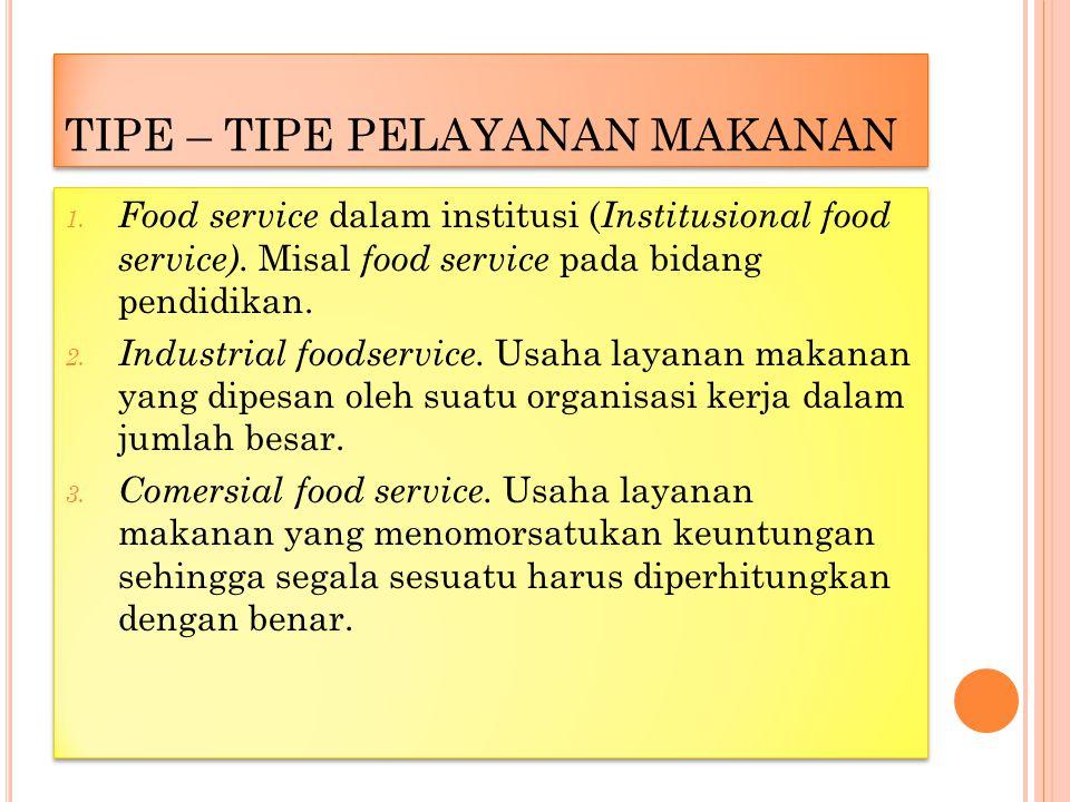 TIPE – TIPE PELAYANAN MAKANAN 1.Food service dalam institusi ( Institusional food service).