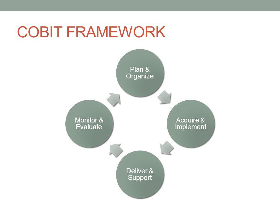 COBIT FRAMEWORK Plan and Organise (PO) : Domain ini menitikberatkan pada proses perencanaan dan penyelarasan strategi TI dengan strategi perusahaan, mencakup masalah strategi, taktik dan identifikasi cara terbaik IT untuk memberikan kontribusi maksimal terhadap pencapaian tujuan bisnis organisasi Acquire & Implement ( AI ) : Domain ini berkaitan dengan implementasi solusi IT dan integrasinya dalam proses bisnis organisasi, juga meliputi perubahan dan perawatan yang dibutuhkan sistem yang sedang berjalan untuk memastikan daur hidup sistem tersebut tetap terjaga Delivery & Support ( DS ): Domain ini mencakup proses pemenuhan layanan IT, keamanan sistem, kontinyuitas layanan, pelatihan dan pendidikan untuk pengguna, dan pemenuhan proses data yang sedang berjalan Monitor & Evaluate ( ME) : Domain ini berfokus pada masalah kendali-kendali yang diterapkan dalam organisasi, pemeriksaan intern dan ekstern dan jaminan independent dari proses pemeriksaan yang dilakukan