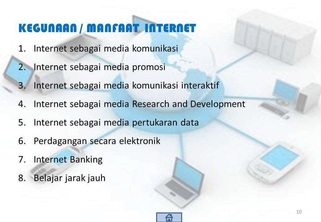 KEGUNAAN / MANFAAT INTERNET 1.Internet sebagai media komunikasi 2.Internet sebagai media promosi 3.Internet sebagai media komunikasi interaktif 4.Inte