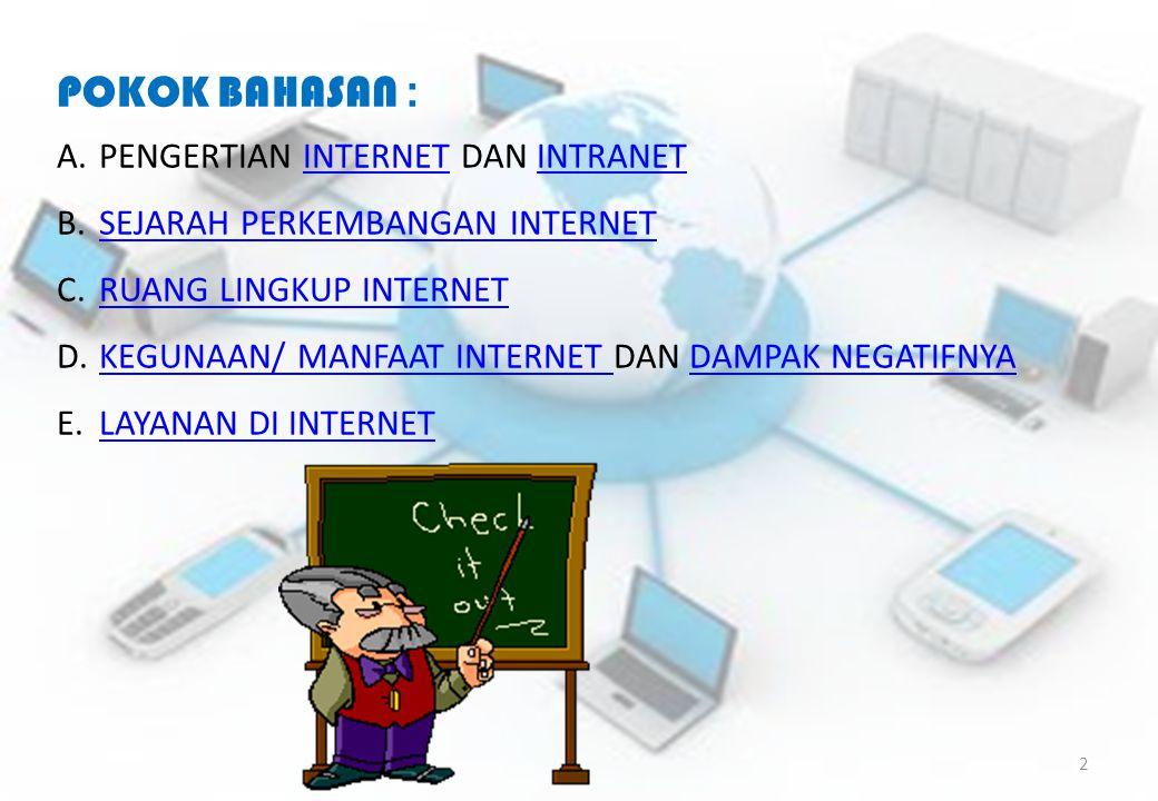 POKOK BAHASAN : A.PENGERTIAN INTERNET DAN INTRANETINTERNETINTRANET B.SEJARAH PERKEMBANGAN INTERNETSEJARAH PERKEMBANGAN INTERNET C.RUANG LINGKUP INTERN