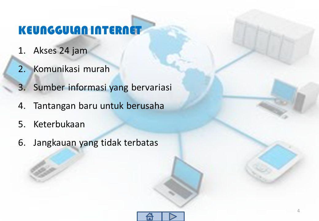 KEUNGGULAN INTERNET 1.Akses 24 jam 2.Komunikasi murah 3.Sumber informasi yang bervariasi 4.Tantangan baru untuk berusaha 5.Keterbukaan 6.Jangkauan yan