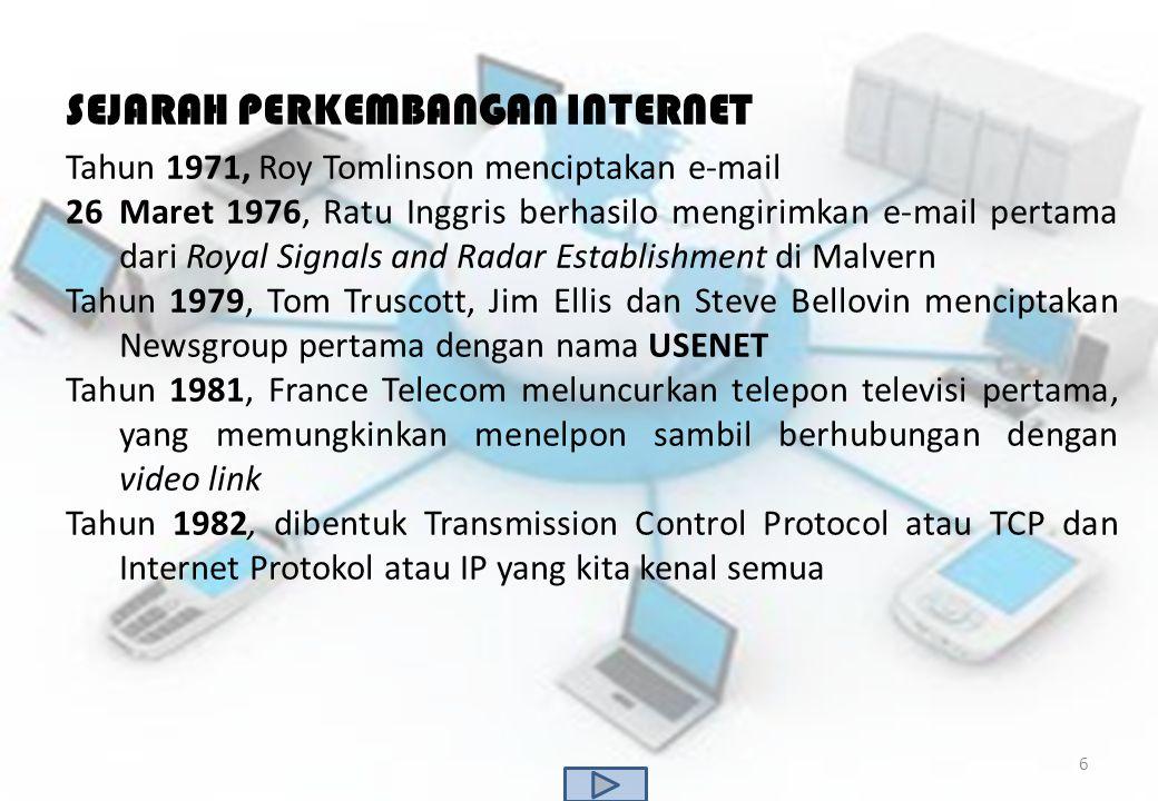 SEJARAH PERKEMBANGAN INTERNET Tahun 1971, Roy Tomlinson menciptakan e-mail 26Maret 1976, Ratu Inggris berhasilo mengirimkan e-mail pertama dari Royal