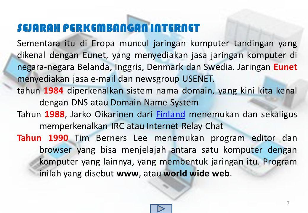 SEJARAH PERKEMBANGAN INTERNET Sementara itu di Eropa muncul jaringan komputer tandingan yang dikenal dengan Eunet, yang menyediakan jasa jaringan komp
