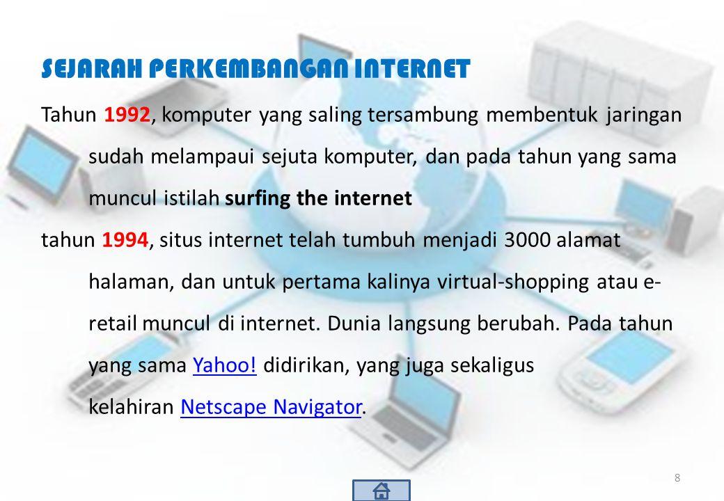 SEJARAH PERKEMBANGAN INTERNET Tahun 1992, komputer yang saling tersambung membentuk jaringan sudah melampaui sejuta komputer, dan pada tahun yang sama