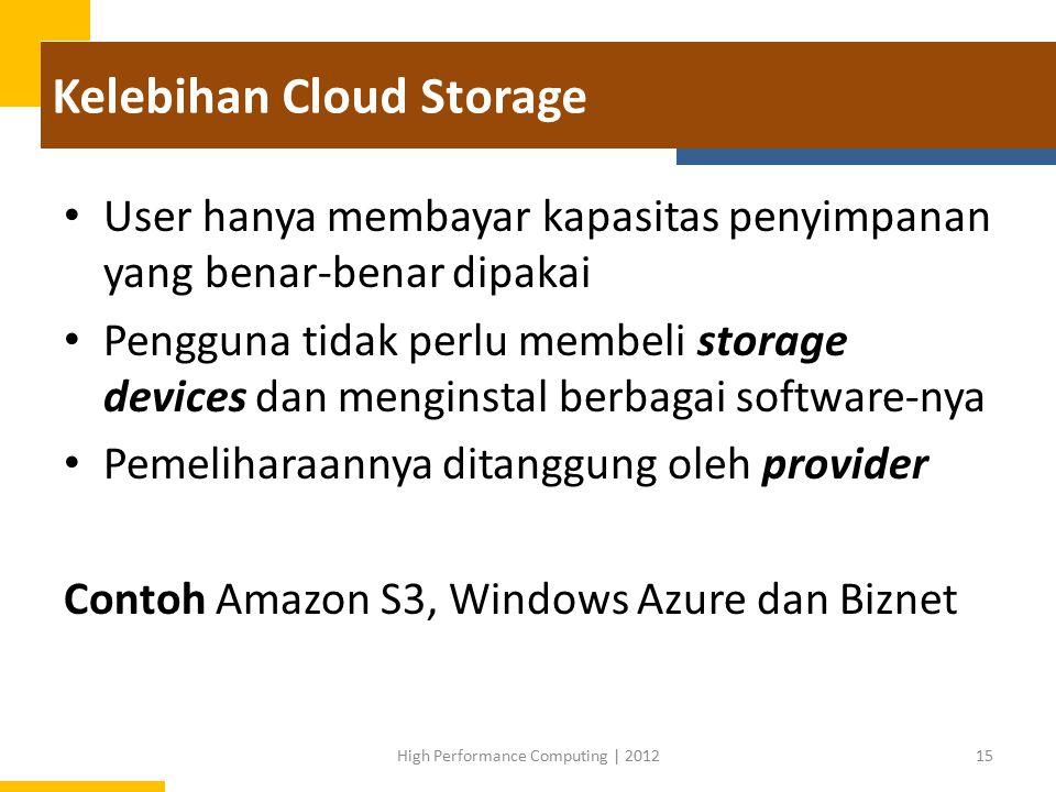 Kelebihan Cloud Storage User hanya membayar kapasitas penyimpanan yang benar-benar dipakai Pengguna tidak perlu membeli storage devices dan menginstal berbagai software-nya Pemeliharaannya ditanggung oleh provider Contoh Amazon S3, Windows Azure dan Biznet 15High Performance Computing | 2012