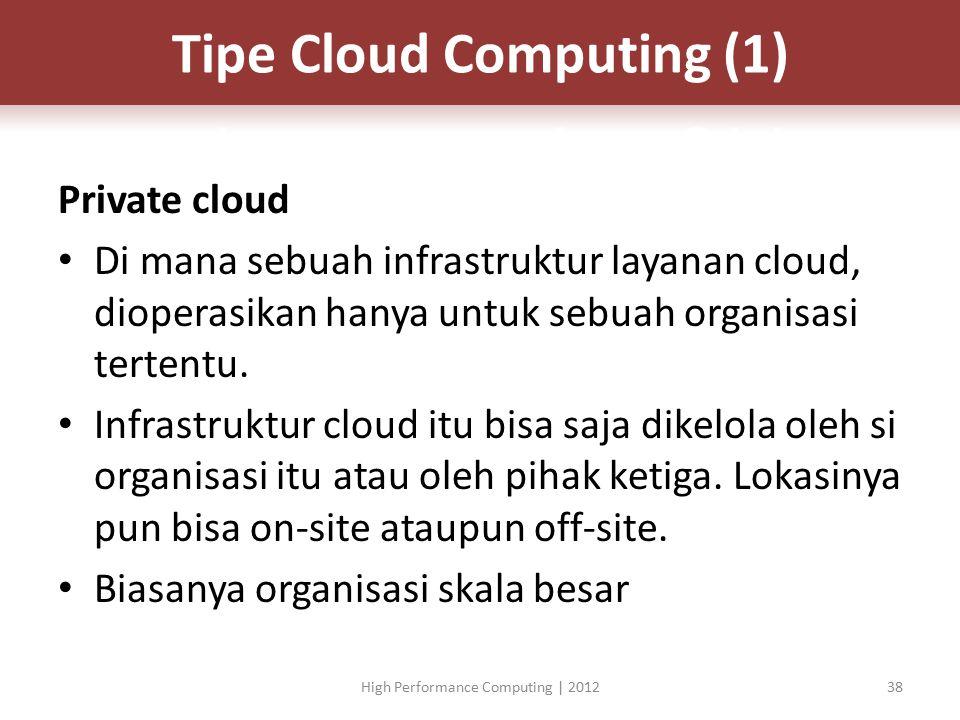 Private cloud Di mana sebuah infrastruktur layanan cloud, dioperasikan hanya untuk sebuah organisasi tertentu.