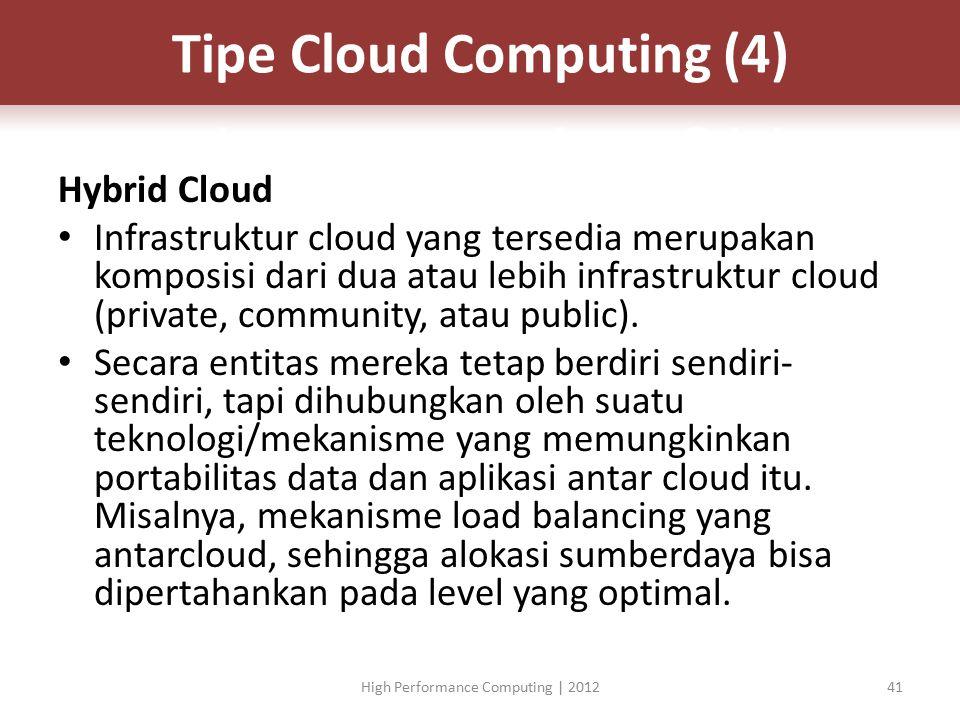 Hybrid Cloud Infrastruktur cloud yang tersedia merupakan komposisi dari dua atau lebih infrastruktur cloud (private, community, atau public).