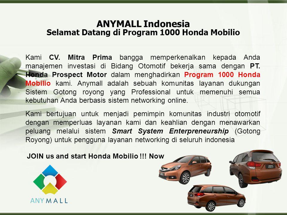 Copyright © Wondershare Software ANYMALL Indonesia Selamat Datang di Program 1000 Honda Mobilio JOIN us and start Honda Mobilio !!.