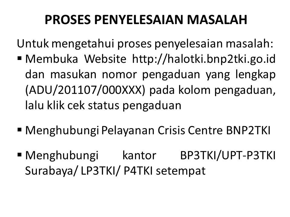 Untuk mengetahui proses penyelesaian masalah:  Membuka Website http://halotki.bnp2tki.go.id dan masukan nomor pengaduan yang lengkap (ADU/201107/000X