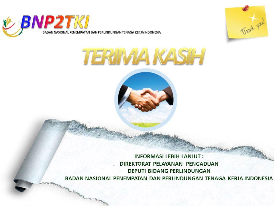 INFORMASI LEBIH LANJUT : DIREKTORAT PELAYANAN PENGADUAN DEPUTI BIDANG PERLINDUNGAN BADAN NASIONAL PENEMPATAN DAN PERLINDUNGAN TENAGA KERJA INDONESIA