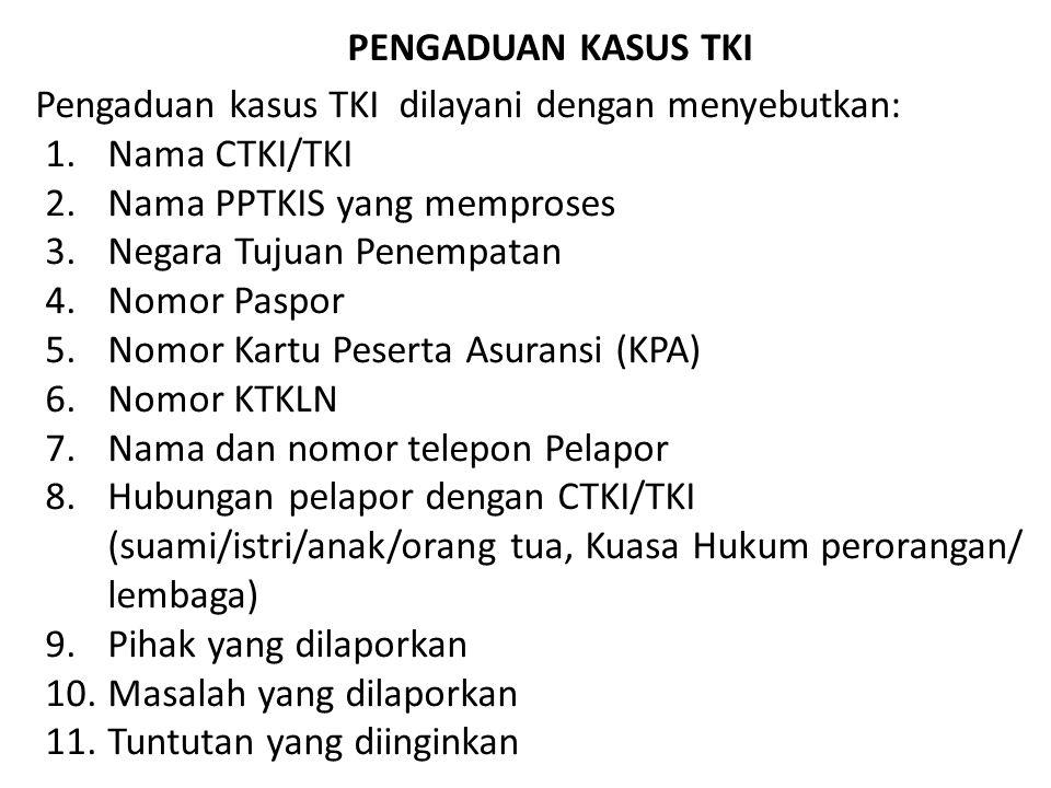 Pengaduan kasus TKI dilayani dengan menyebutkan: 1.Nama CTKI/TKI 2.Nama PPTKIS yang memproses 3.Negara Tujuan Penempatan 4.Nomor Paspor 5.Nomor Kartu