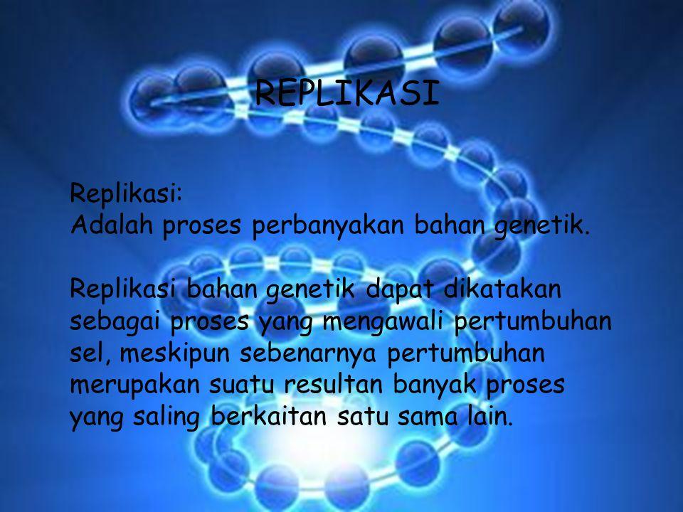 REPLIKASI Replikasi: Adalah proses perbanyakan bahan genetik.