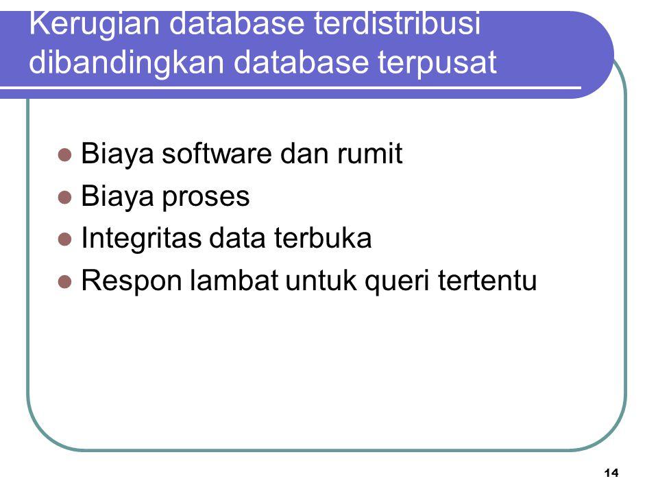 14 Kerugian database terdistribusi dibandingkan database terpusat Biaya software dan rumit Biaya proses Integritas data terbuka Respon lambat untuk qu