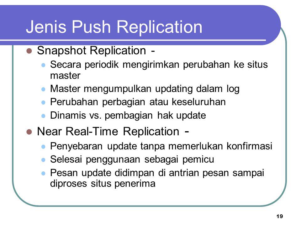 19 Jenis Push Replication Snapshot Replication - Secara periodik mengirimkan perubahan ke situs master Master mengumpulkan updating dalam log Perubaha