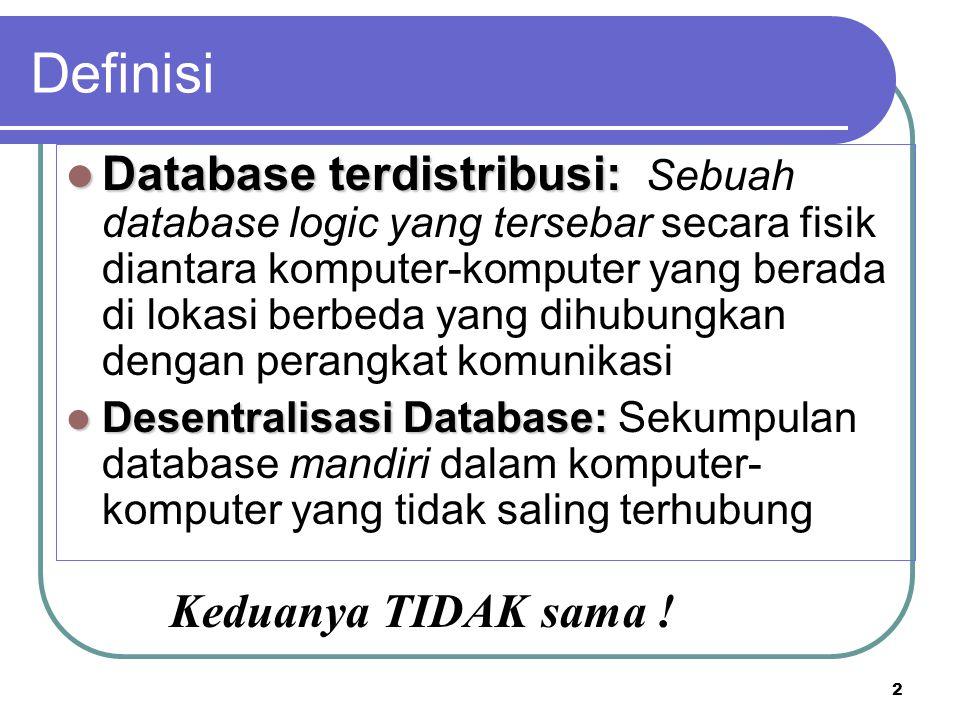 2 Database terdistribusi: Database terdistribusi: Sebuah database logic yang tersebar secara fisik diantara komputer-komputer yang berada di lokasi be