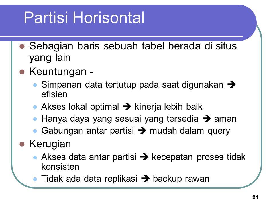 21 Partisi Horisontal Sebagian baris sebuah tabel berada di situs yang lain Keuntungan - Simpanan data tertutup pada saat digunakan  efisien Akses lo