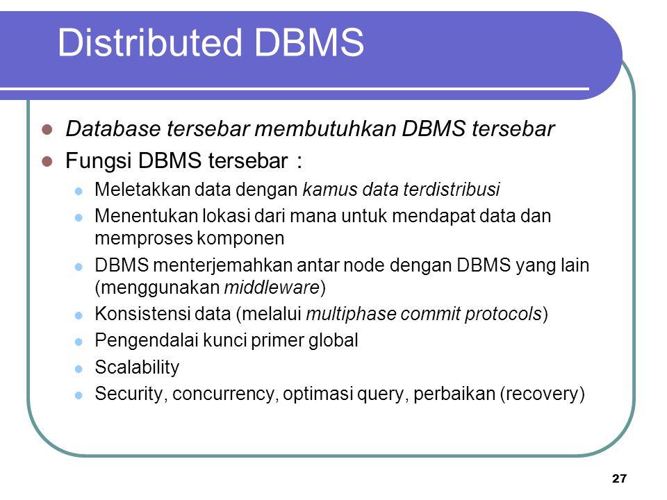 27 Distributed DBMS Database tersebar membutuhkan DBMS tersebar Fungsi DBMS tersebar : Meletakkan data dengan kamus data terdistribusi Menentukan loka
