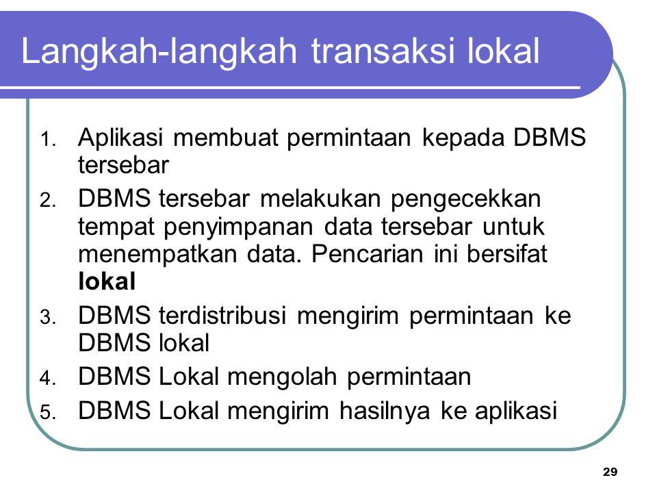 29 Langkah-langkah transaksi lokal 1. Aplikasi membuat permintaan kepada DBMS tersebar 2. DBMS tersebar melakukan pengecekkan tempat penyimpanan data