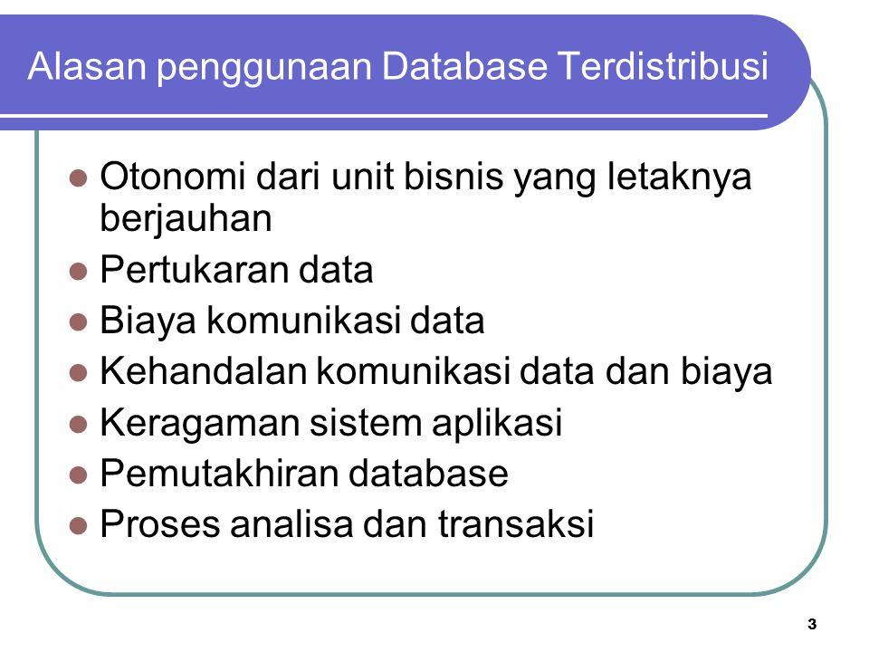 3 Alasan penggunaan Database Terdistribusi Otonomi dari unit bisnis yang letaknya berjauhan Pertukaran data Biaya komunikasi data Kehandalan komunikas