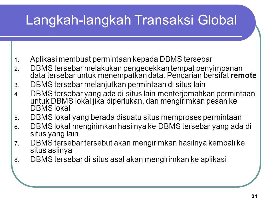 31 Langkah-langkah Transaksi Global 1. Aplikasi membuat permintaan kepada DBMS tersebar 2. DBMS tersebar melakukan pengecekkan tempat penyimpanan data