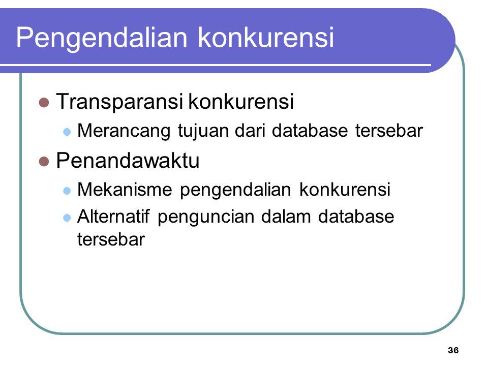 36 Pengendalian konkurensi Transparansi konkurensi Merancang tujuan dari database tersebar Penandawaktu Mekanisme pengendalian konkurensi Alternatif p