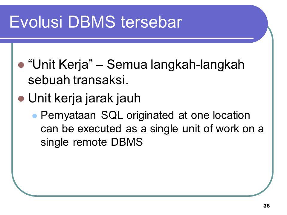 """38 Evolusi DBMS tersebar """"Unit Kerja"""" – Semua langkah-langkah sebuah transaksi. Unit kerja jarak jauh Pernyataan SQL originated at one location can be"""