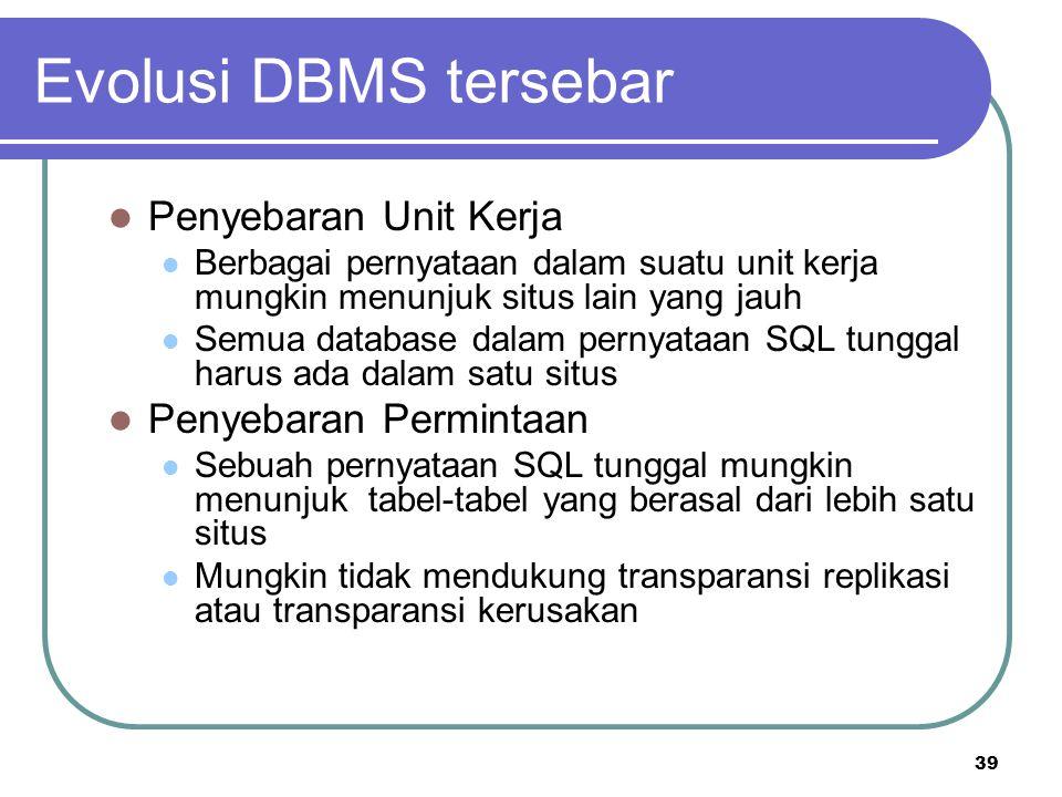 39 Evolusi DBMS tersebar Penyebaran Unit Kerja Berbagai pernyataan dalam suatu unit kerja mungkin menunjuk situs lain yang jauh Semua database dalam p