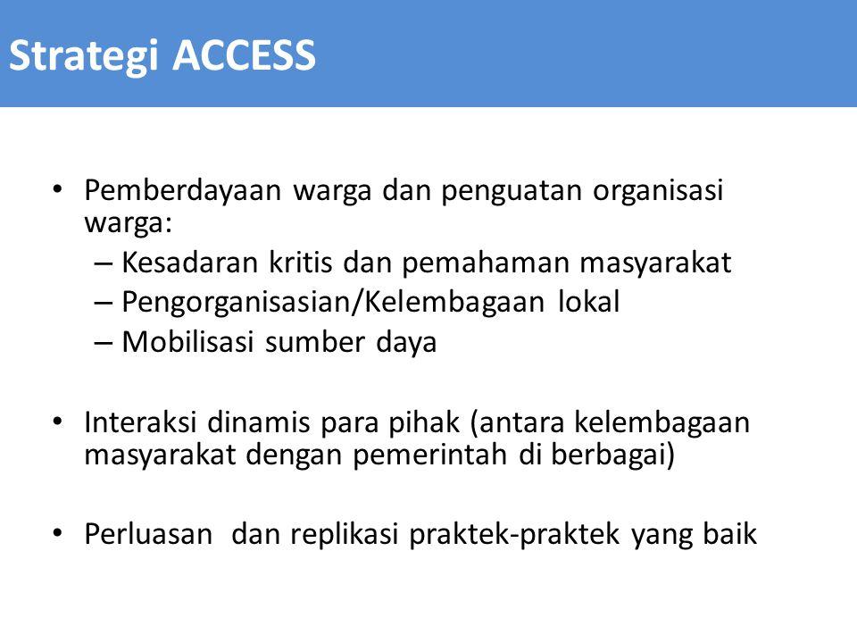 Strategi ACCESS Pemberdayaan warga dan penguatan organisasi warga: – Kesadaran kritis dan pemahaman masyarakat – Pengorganisasian/Kelembagaan lokal –